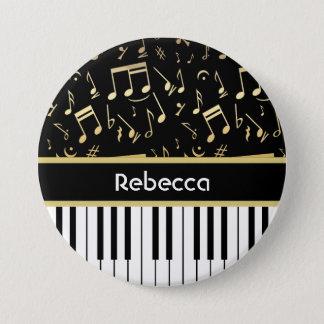 音符およびピアノ鍵の黒および金ゴールド 缶バッジ