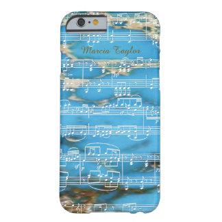 音符が付いている青いターコイズの大理石 BARELY THERE iPhone 6 ケース