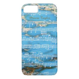 音符が付いている青いターコイズの大理石 iPhone 7ケース
