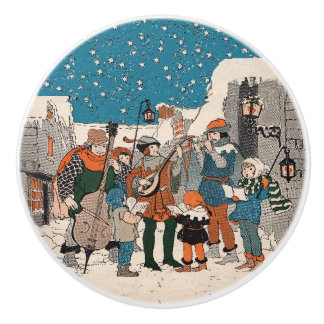 音符のクリスマスの聖歌隊の星の村 セラミックノブ