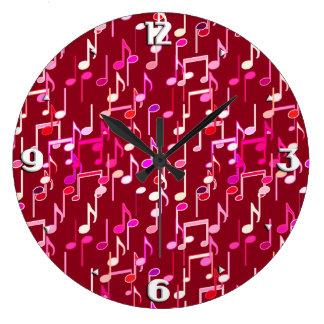 音符のプリント-数々のなバーガンディ ラージ壁時計