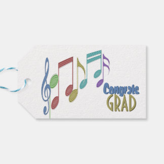 音符の線形多彩な卒業 ギフトタグ