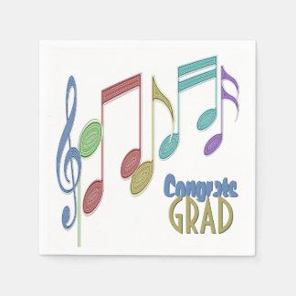 音符の線形多彩な卒業 スタンダードカクテルナプキン