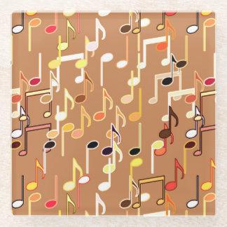 音符は-数々のなカラメルタンを印刷します ガラスコースター