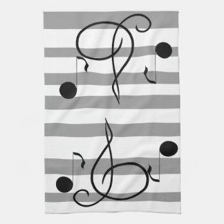 音符音楽カフェタオルのミュージシャンのギフト キッチンタオル