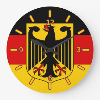 頂上の時計が付いているドイツの旗(数と) ラージ壁時計