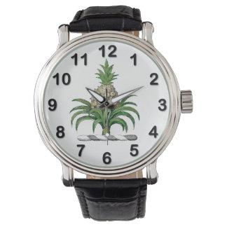 頂上プレッピーなHeraldicパイナップル紋章付き外衣 腕時計