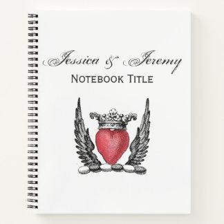頂上翼の紋章付き外衣とのHeraldicハート ノートブック