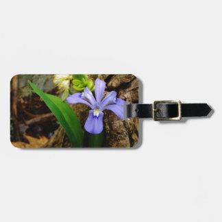頂点に達された小型アイリス青い紫色の白い花 ラゲッジタグ
