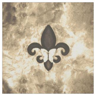 頑固な技術|のセピア色のブラウンの蝶フルーアd Lis ファブリック