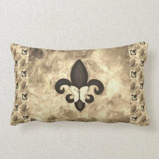 頑固な装飾 のセピア色のブラウンの蝶フルーアd Lis ランバークッション