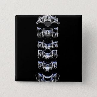 頚部椎骨4 5.1CM 正方形バッジ