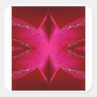 頭が切れるでシンプルなグラフィック-輝き赤いnのピンクのバラ スクエアシール