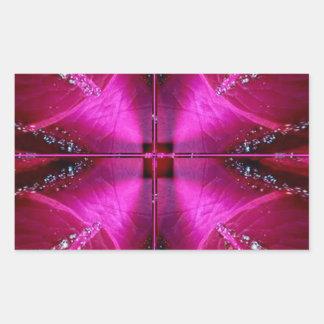頭が切れるでシンプルなグラフィック-輝き赤いnのピンクのバラ 長方形シール