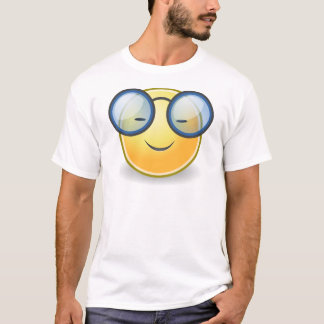 頭が切れるなオレンジにこやかなガラス Tシャツ