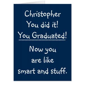 頭が切れるな卒業生のジャンボおもしろいな卒業のお祝い カード