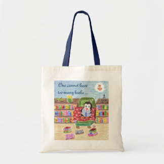 頭が切れるな読書ペンギンの子供の図書館のバッグ トートバッグ