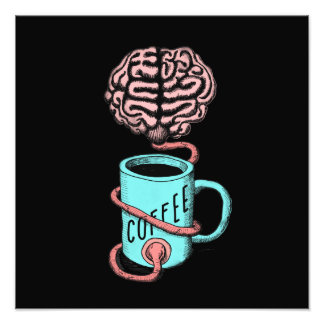 頭脳のためのコーヒー。 おもしろいなコーヒーイラストレーション フォトプリント