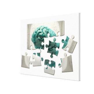 頭脳の分析、概念的なコンピュータアートワーク キャンバスプリント