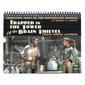 頭脳の盗人のカレンダーのタワーで引っ掛けられる カレンダー