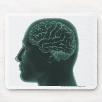 頭脳を示すプロフィールの人間の頭 マウスパッド