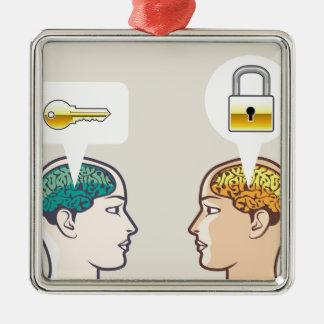 頭脳ロックおよび鍵 メタルオーナメント