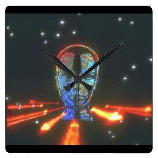 頭部および火。 (head_Space場面 スクエア壁時計