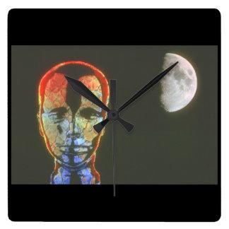 頭部か月。 (頭部; moon_Space場面 スクエア壁時計