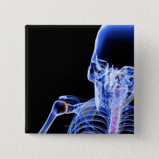 頭部の骨 5.1CM 正方形バッジ