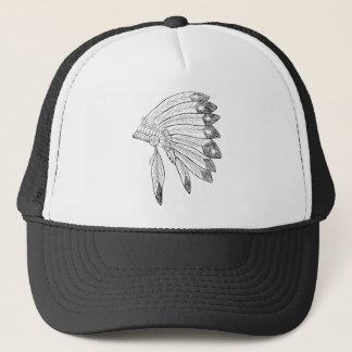 頭飾り-ネイティブアメリカンの絵 キャップ
