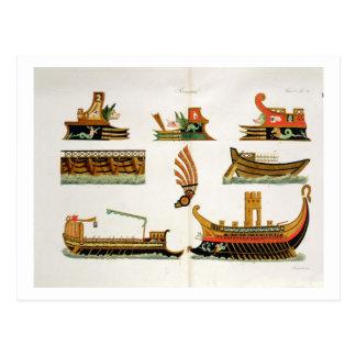 頭首、プレート23の詳細が付いているローマの船、 ポストカード