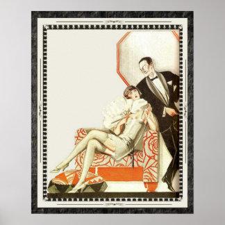 頽廃的な20年代のアールデコのアバンギャルドのカップル ポスター