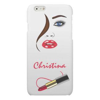 顔および口紅のキスは無光沢のiPhoneを6つのケース映します