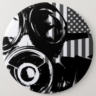 顔のやしレトロのガスマスクのデザイン2ボタン 15.2CM 丸型バッジ