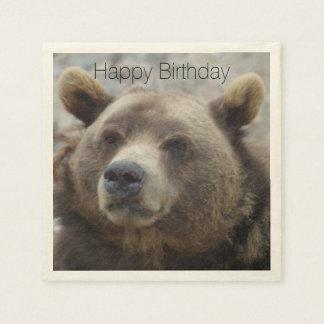 顔のクローズアップが付いているコディアックヒグマのポートレートの写真 スタンダードカクテルナプキン