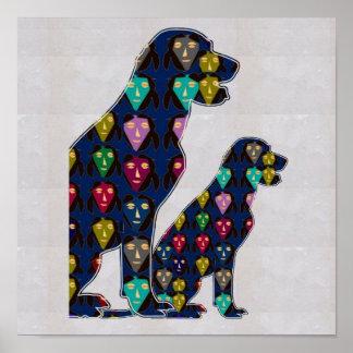 顔の色彩の鮮やかなラブラドール犬のペットのグラフィック ポスター