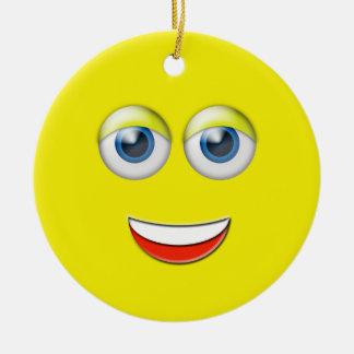 顔のEmojiの黄色く幸せな名前をカスタムする セラミックオーナメント