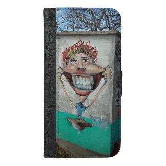 顔のIphoneの幸せでおもしろいな場合および財布 iPhone 6/6s Plus ウォレットケース