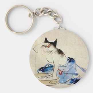 顔を洗う猫、広重猫の顔の洗浄、Hiroshige キーホルダー