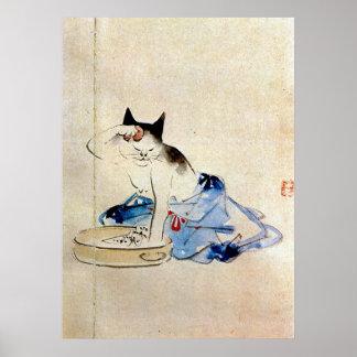 顔を洗う猫、広重猫の顔の洗浄、Hiroshige ポスター
