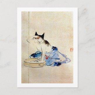 顔を洗う猫、広重猫の顔の洗浄、Hiroshige ポストカード
