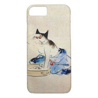 顔を洗う猫、広重猫の顔の洗浄、Hiroshige、Ukiyo-e iPhone 8/7ケース
