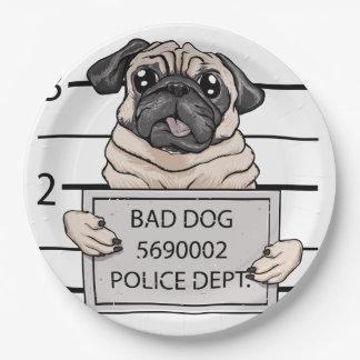 顔写真犬の漫画 ペーパープレート