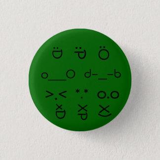 顔文字森林緑 3.2CM 丸型バッジ