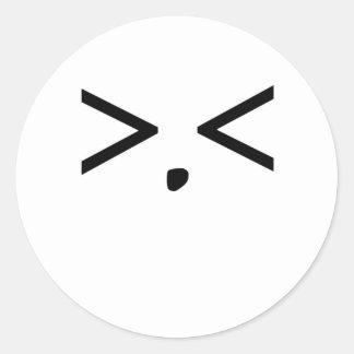 顔文字: 欲求不満 丸形シールステッカー