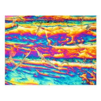 顕微鏡の下の水酸化カリウム ポストカード