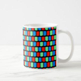 顕微鏡の下の表示ピクセル コーヒーマグカップ