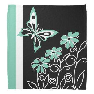 顕著な水の緑の蝶および花 バンダナ
