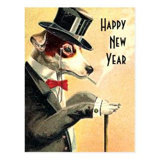 顕著な犬の新年の願い ポストカード
