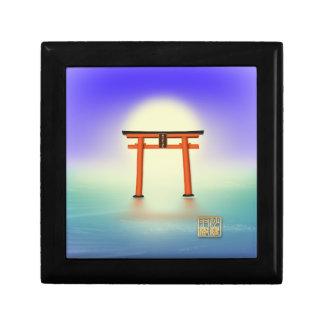 願いが叶う!沙羅双樹の神社 ギフトボックス 青い海と太陽 スクエアギフトボックス小